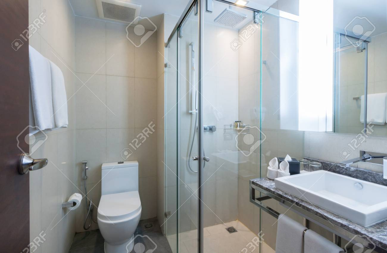 Toilet And Bathroom With Rain Shower Head Stock Photo Picture And