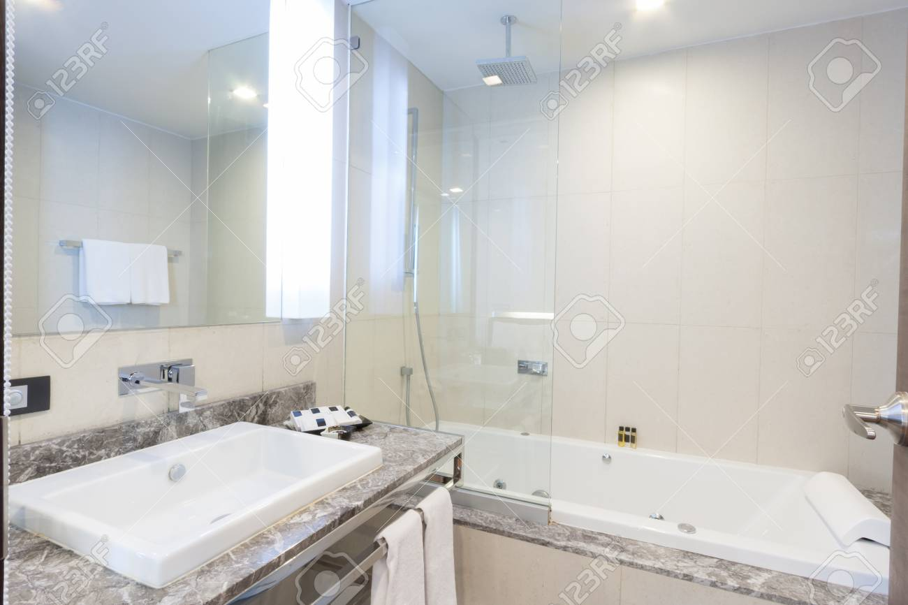 Toilet And Bathroom With Rain Shower Head. Stock Photo, Picture And ...