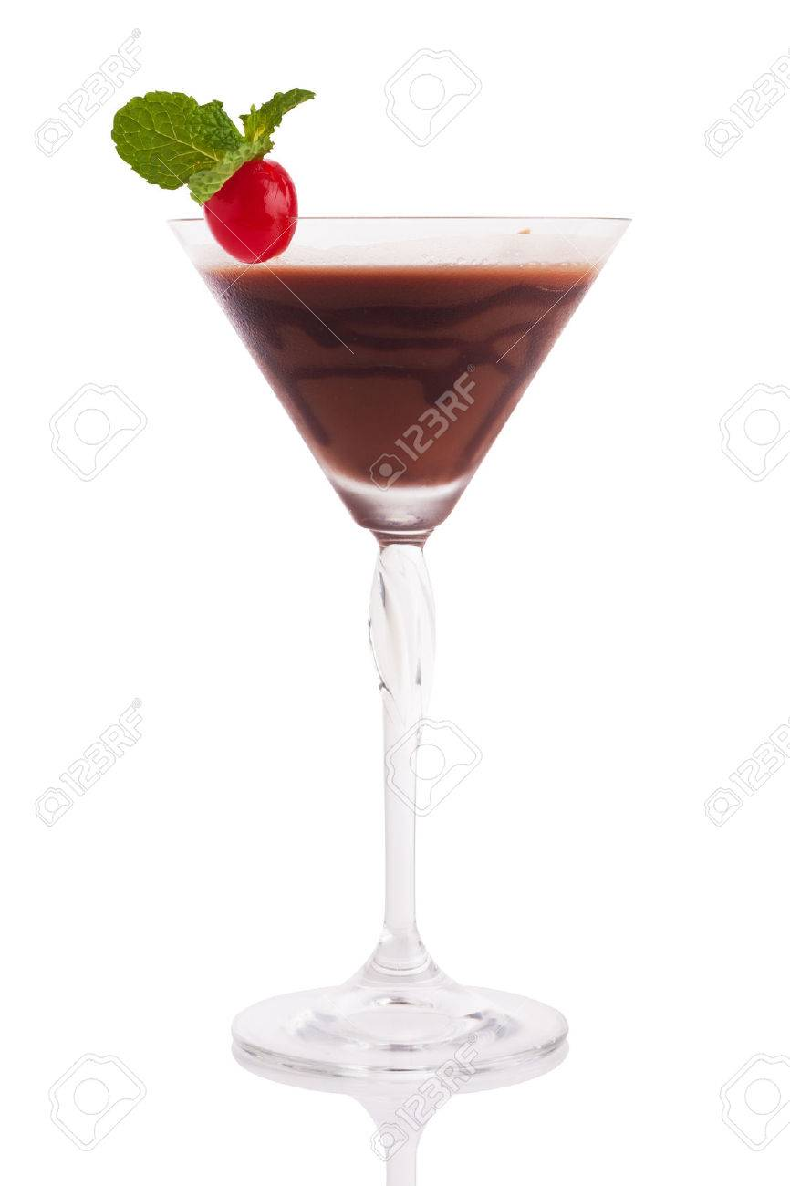 chocolate martini with cherry and mint isolated on white. Standard-Bild - 37803382