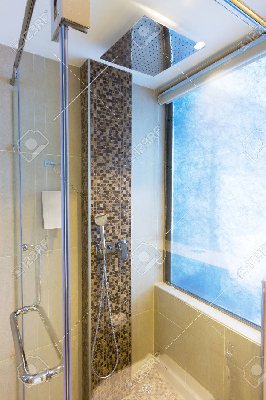 Modern Bathroom With Rain Shower. Stock Photo, Picture And Royalty ...