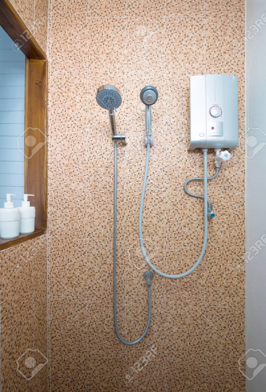 Shower And Water Heater In Bathroom Stock Photo Picture And Royalty Free Image Image 70742837