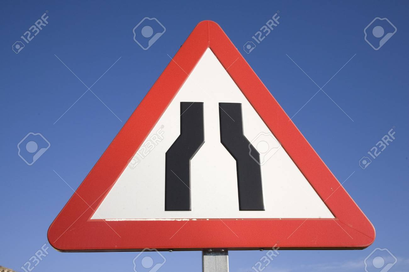 Road Narrowing Sign Stock Photo - 7292575