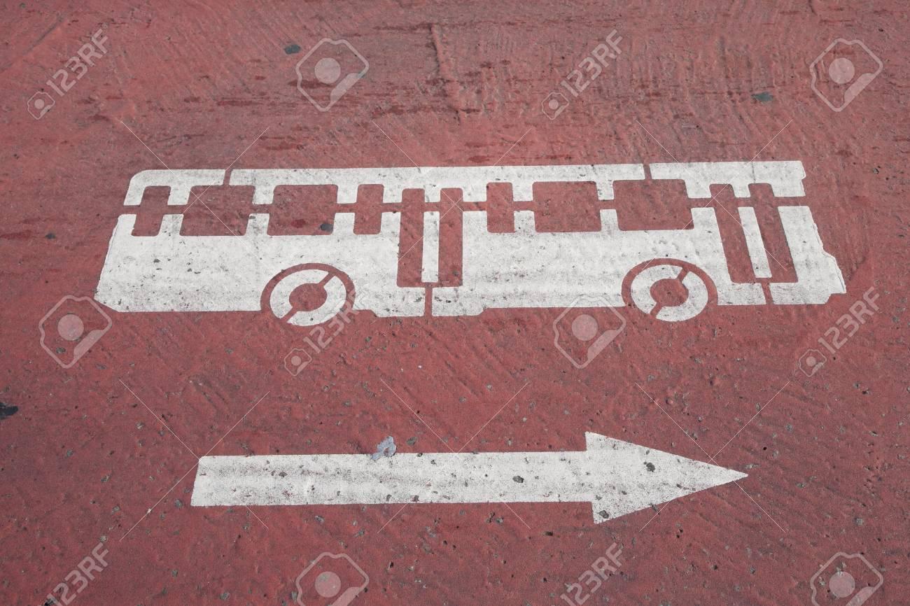 Bus Symbol Painted on Street Stock Photo - 8875516