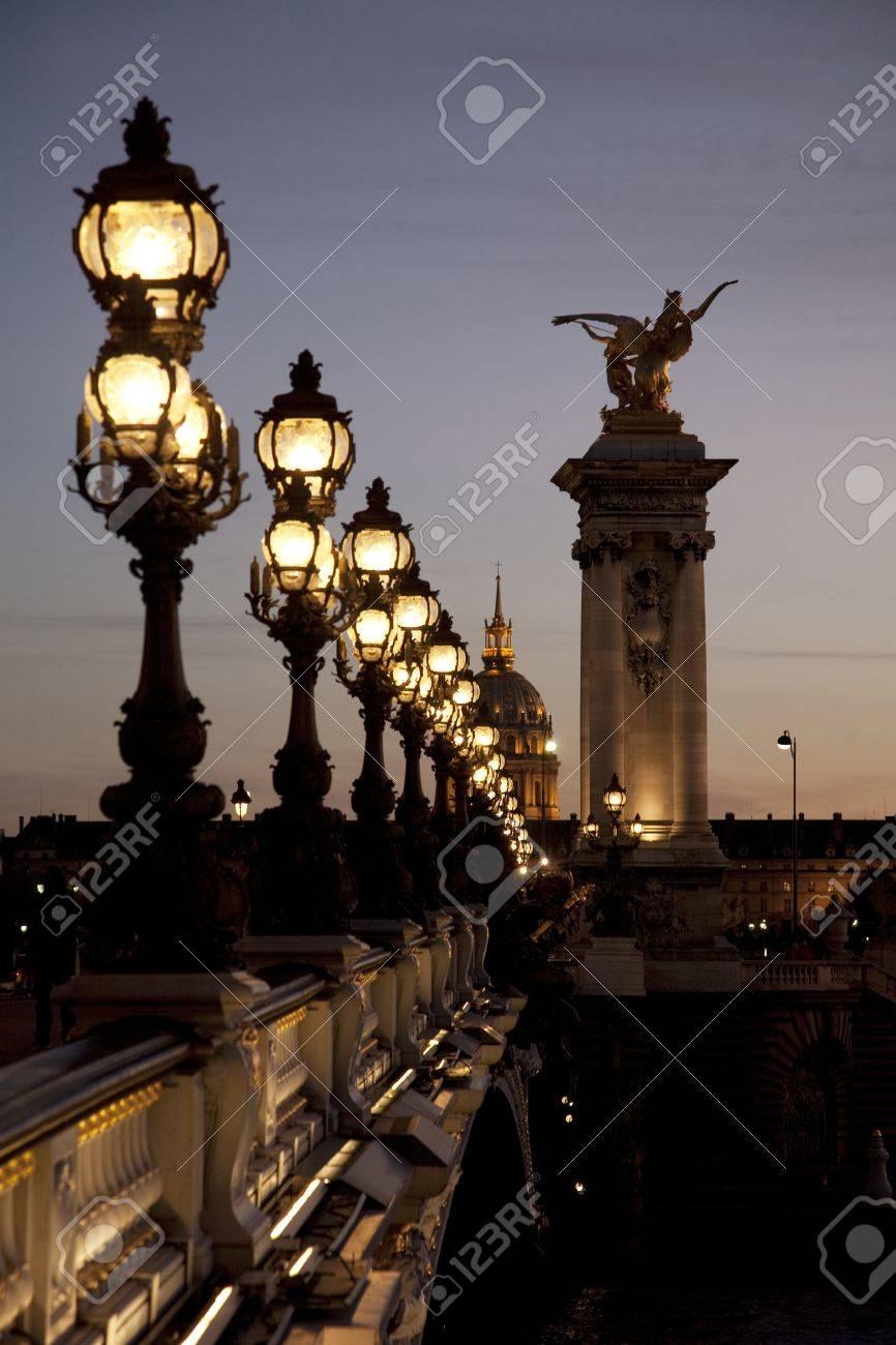Pont Alexandre III Bridge illuminated at night in Paris, France Stock Photo - 11792442