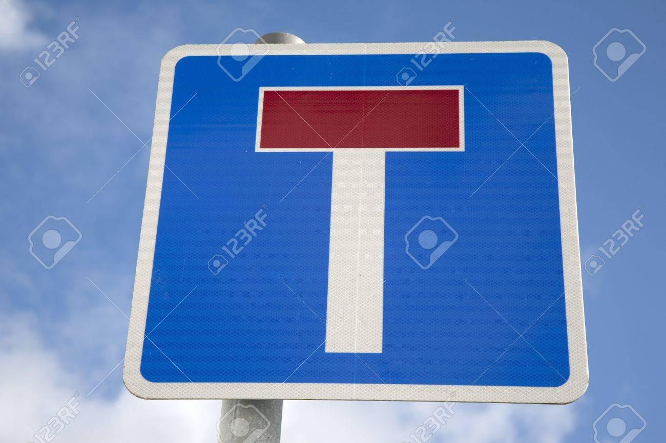 Cul-de-sac Dead End Road Sign against Blue Sky Background Stock Photo - 17085662