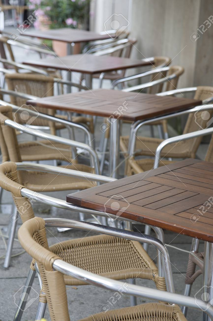 Chairs Berlin cafe terrace table and chairs berlin germany stock photo picture