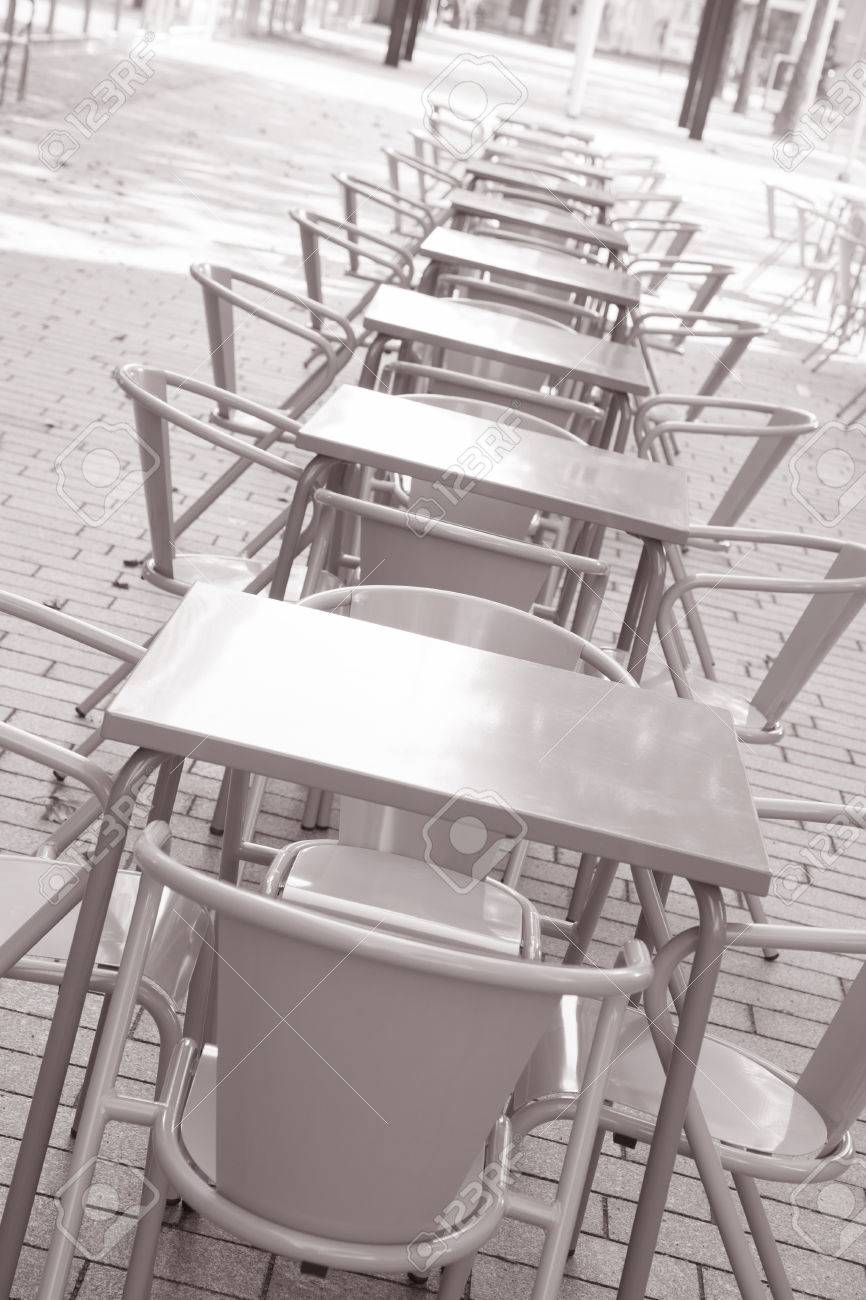 Cafe Tables and Chairs in Urban Setting in Black and White Sepia Tone Stock Photo - & Cafe Tables And Chairs In Urban Setting In Black And White Sepia ...