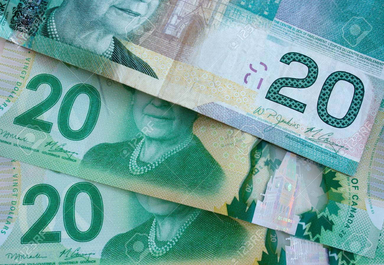 Detailed View Of Canadian Twenty Dollar Bills Fotos, Retratos ...