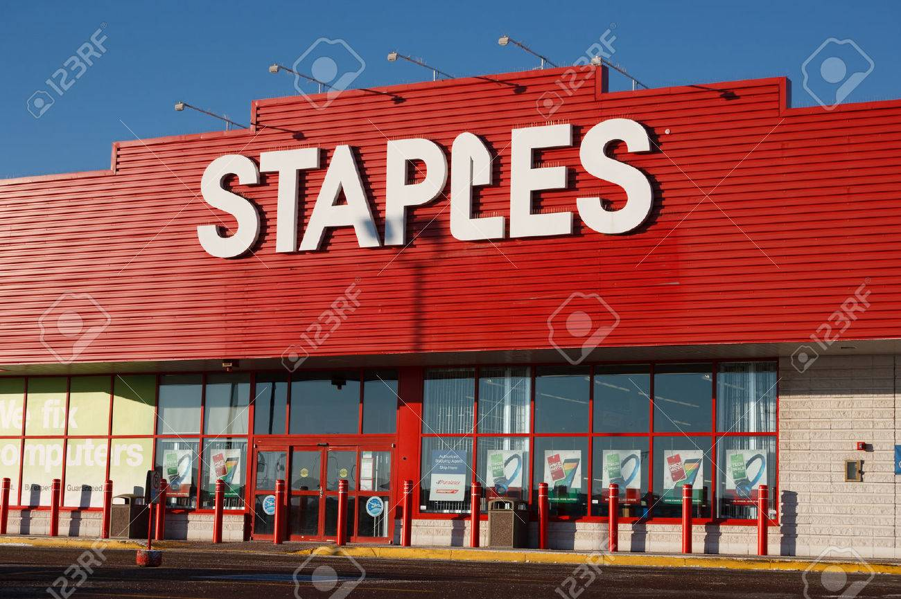 Stock Photo   TRURO, CANADA   DECEMBER 11, 2013: Staples Is An Office Supply  Retail Outlet With Over 2,000 Stores In 26 Countries.