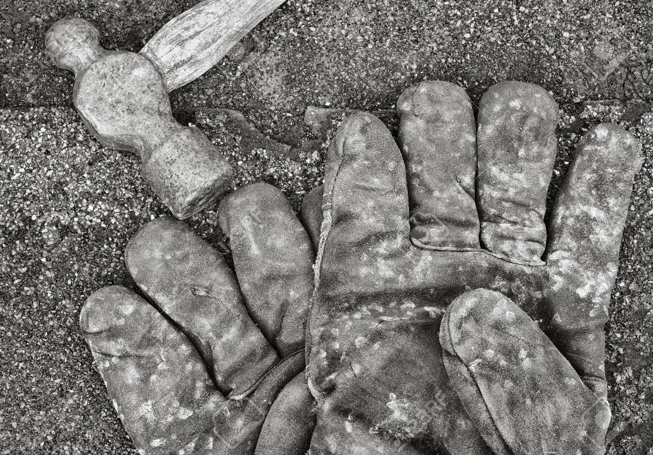 Black hammer gloves - Stock Photo Work Gloves And Old Ball Peen Hammer On Shingles Black And White Image