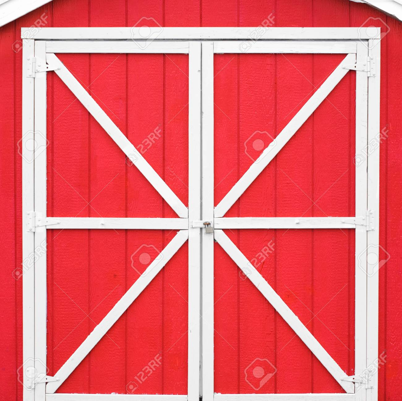 Classic Red Barn Style Door With White Trim Stock Photo Picture