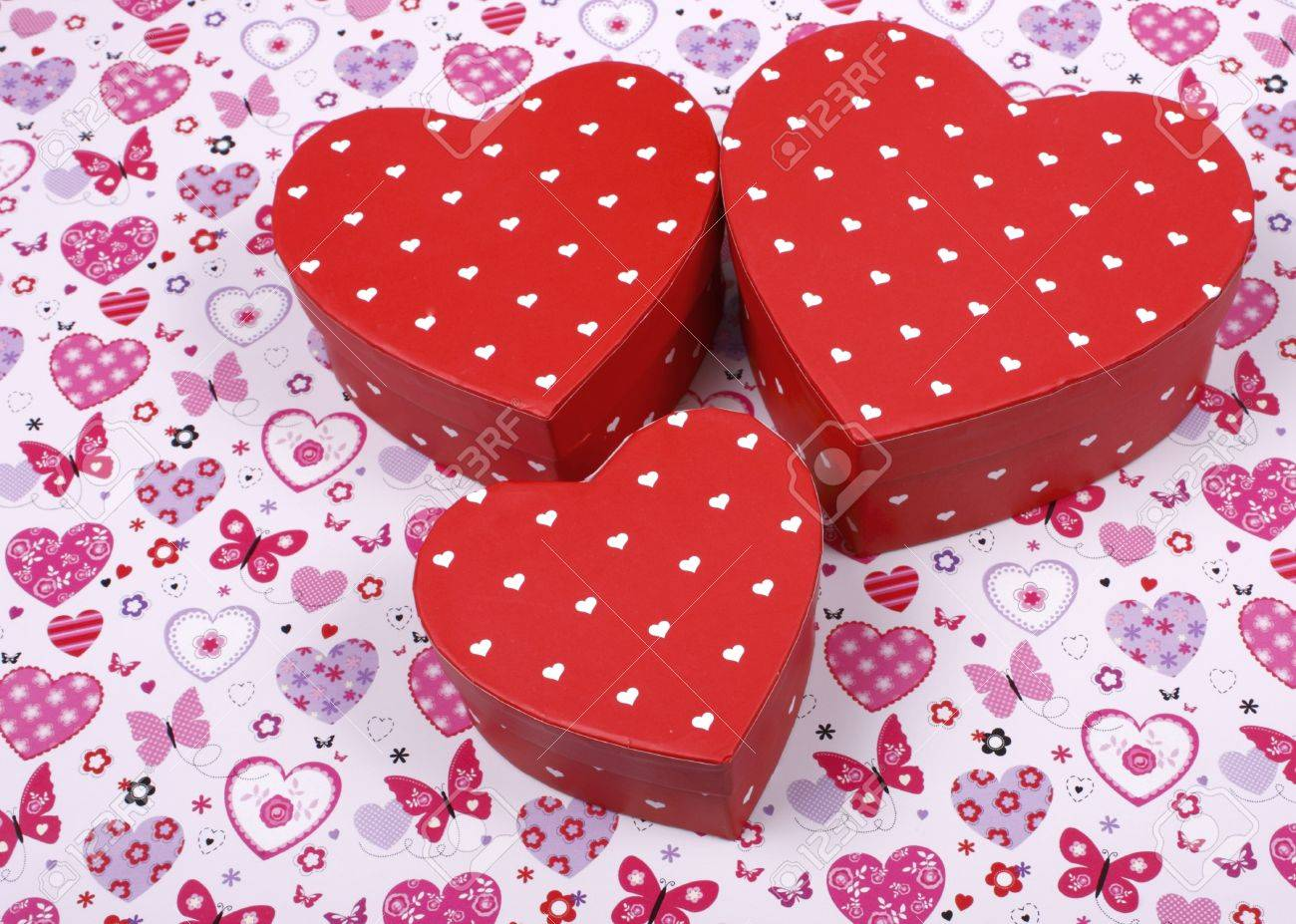 An Image Of Heart Shaped Gift Boxes Which Show The Idea Of ...