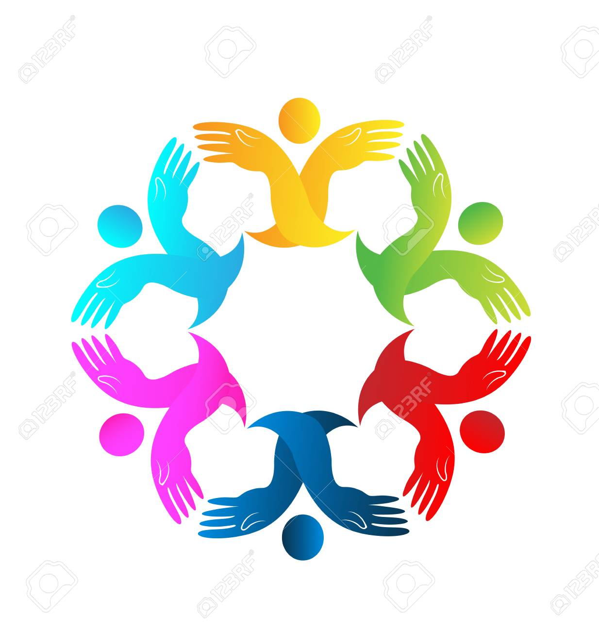 teamwork people holding hands together vector logo royalty free rh 123rf com