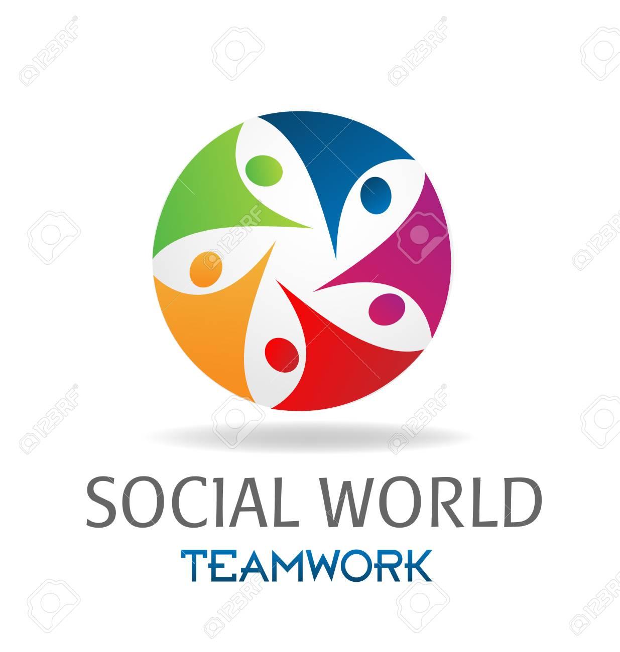 Logo Teamwork Social Media Networking Around World Business Card ...