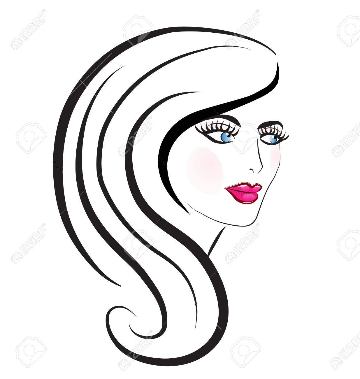 Beautiful Woman Hair Salon Vector Royalty Free Cliparts Vectors And Stock Illustration Image 98749571