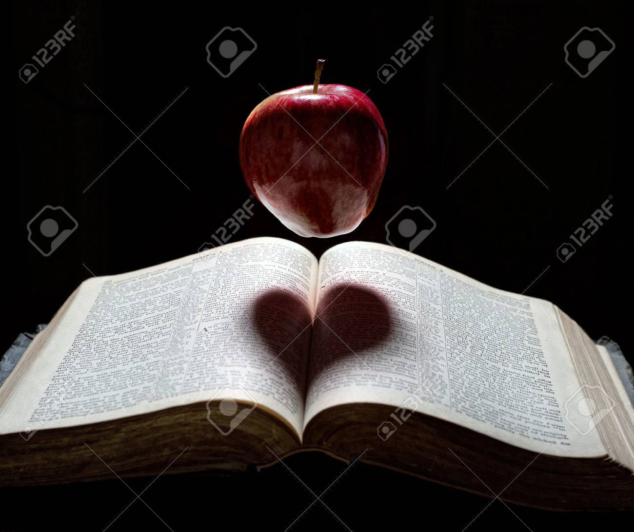 An apple floats above a Bible with a heart shadow. - 27594894