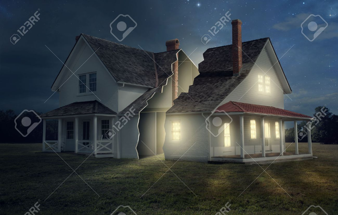 A house broken into two with light and darkness. - 43694393