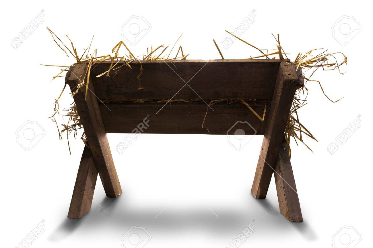 Manger with straw on whie background - 47403845