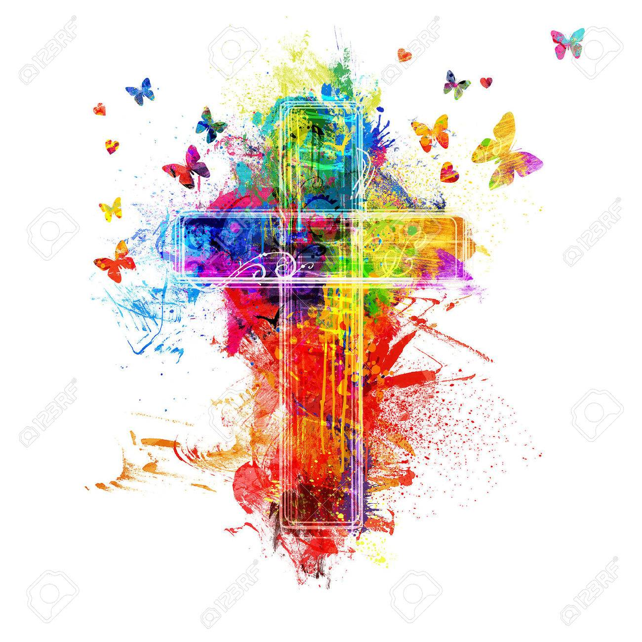 A cross created by colorful paint splatters - 51416322