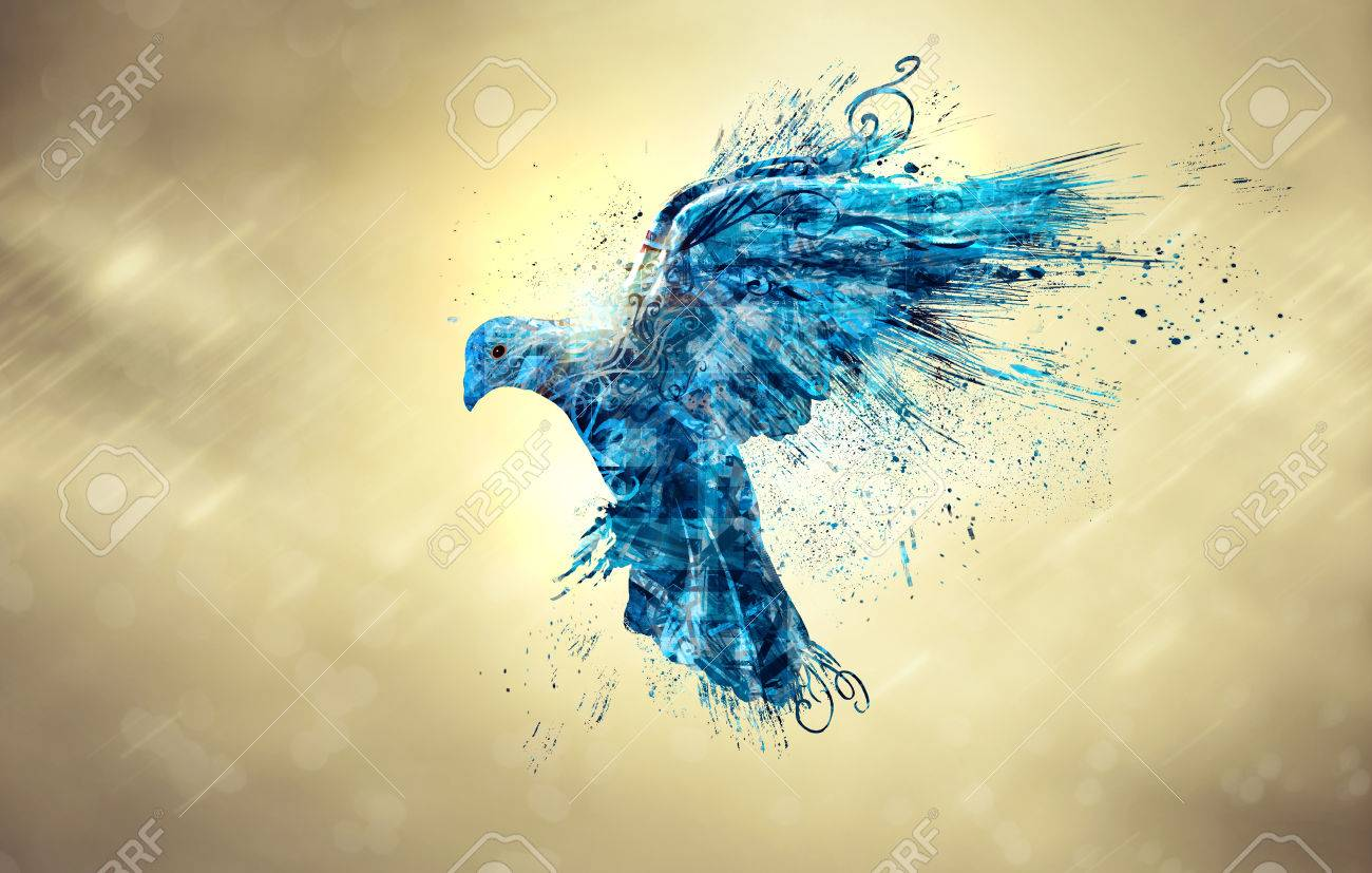 An abstract illustration of a blue dove in the sky. - 51750863