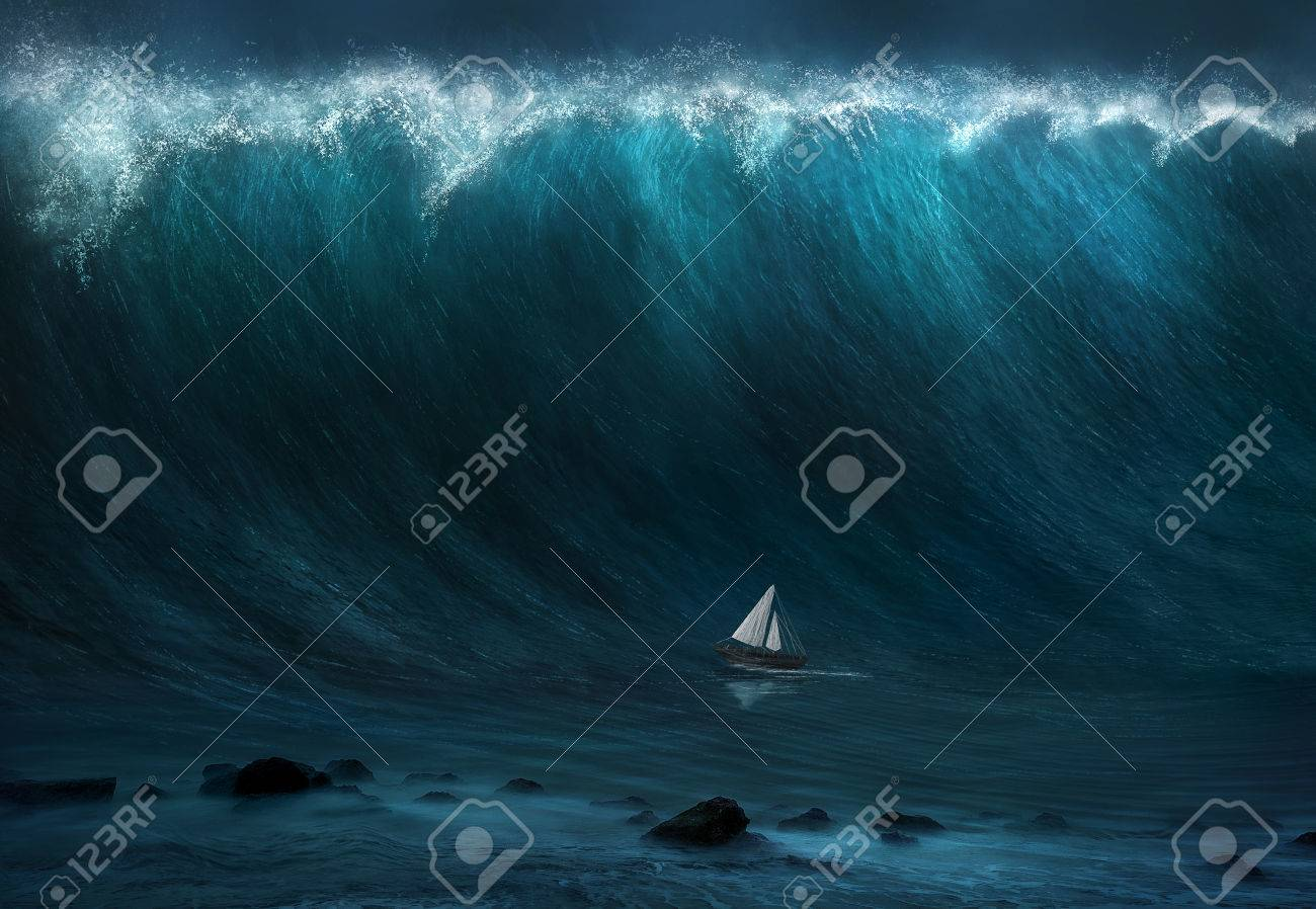 A small boat being captured by a large wave. - 57162410