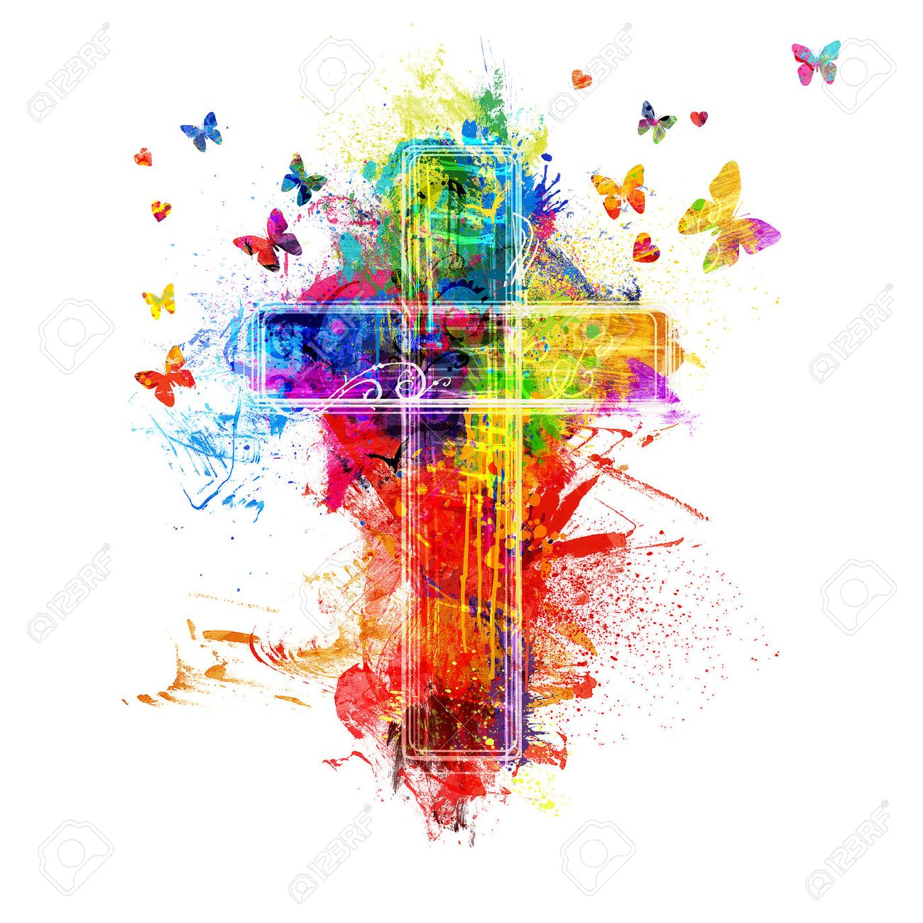 A cross created by colorful paint splatters - 57162417