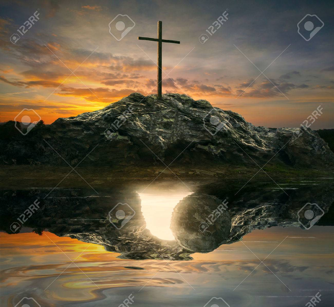 A single cross with the reflection of an empty tomb. - 57203763