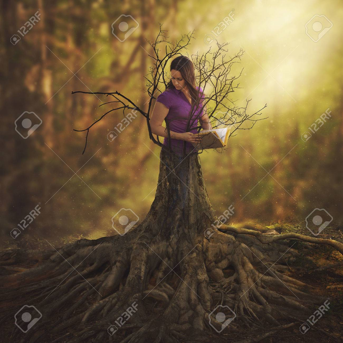 A woman reading a book and turning into a tree. - 57162733