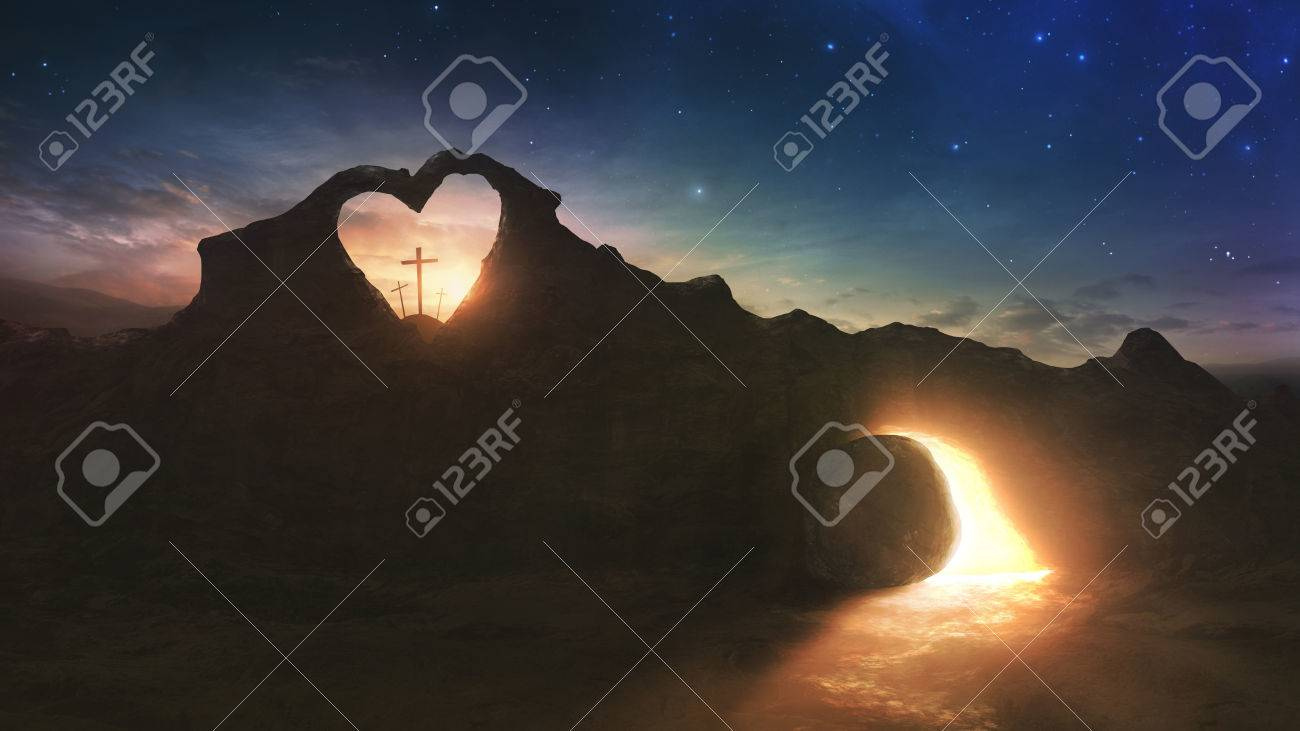Three crosses and an empty grave on Easter morning with a heart shape in the rocks - 75724069