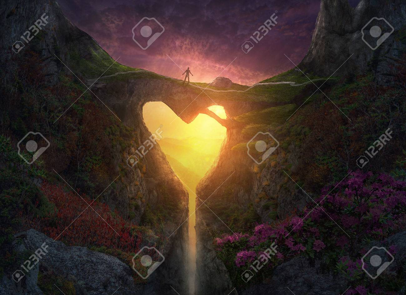 A heart shaped bridge across a canyon in the forest. - 75724070