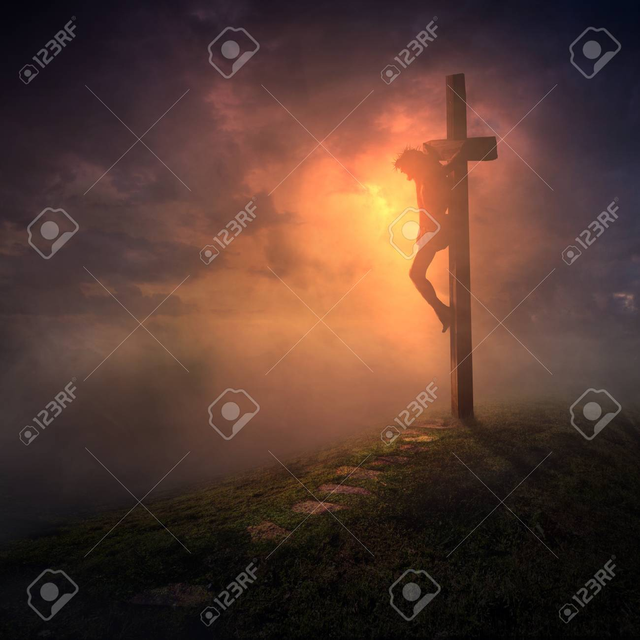 Jesus hanging on the cross with the skies getting dark - 81659699