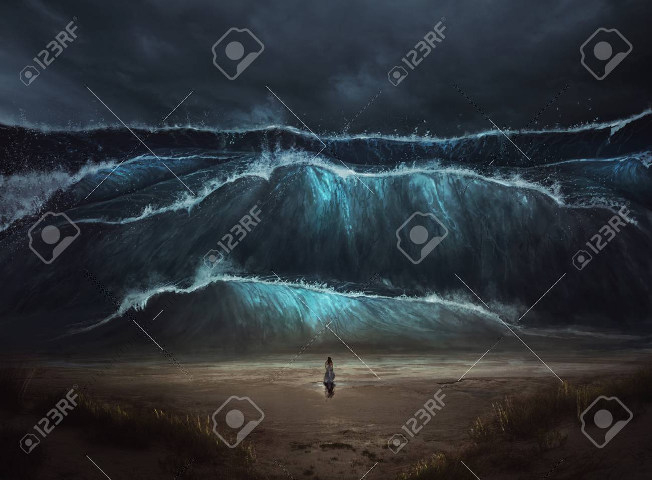 A woman stands alone before a large tidal wave coming on to the beach. - 109768846