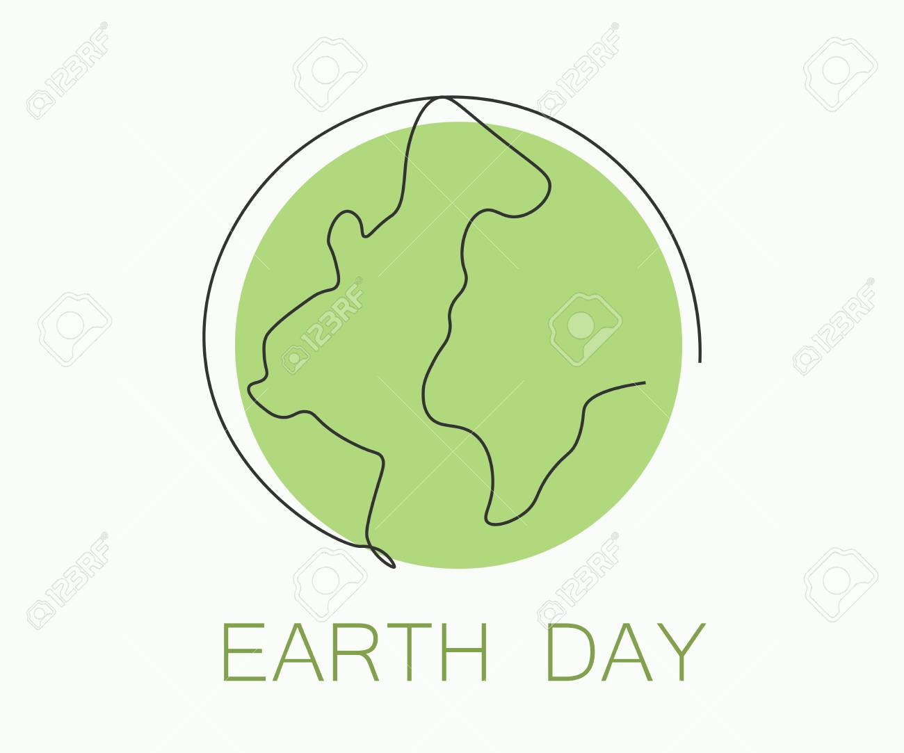 Earth day concept, world map outline, vector illustration
