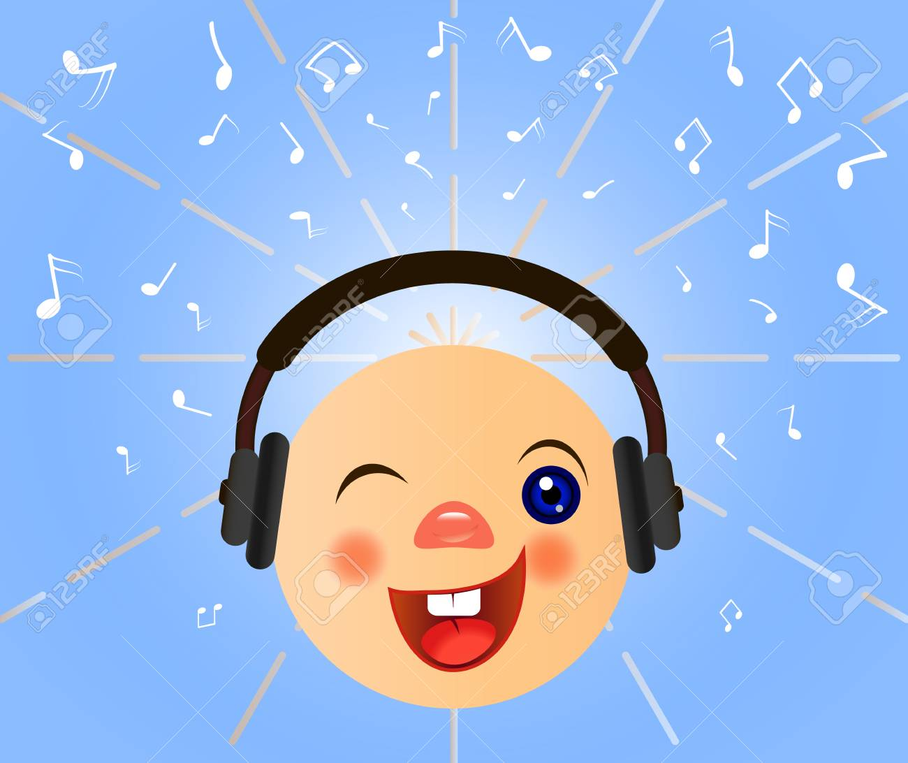 Emoticons icons  Emoji face  Smiley with headphones Vector musical