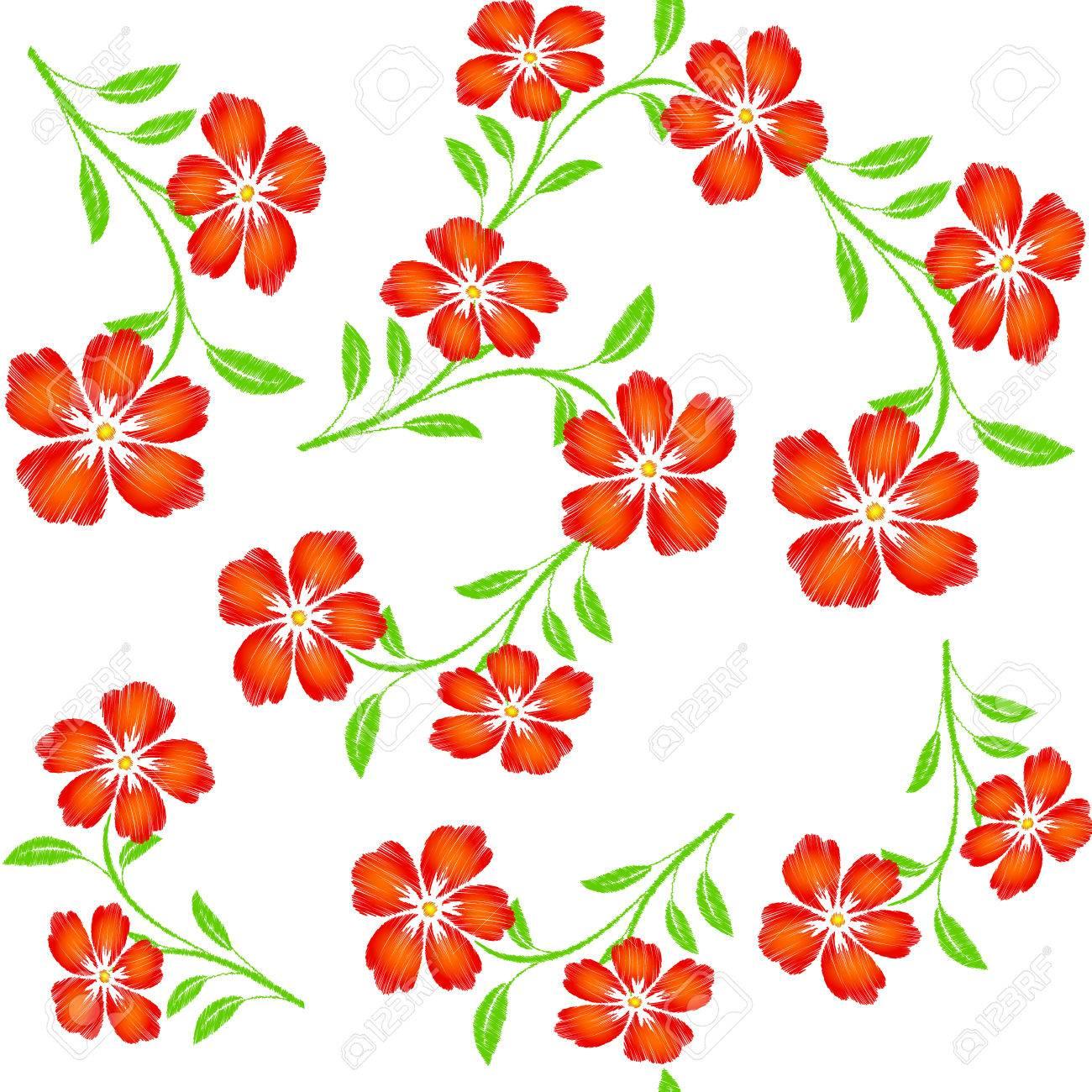 Flores De Naranja Rojo Bordado Sobre Fondo Blanco Patrón ...