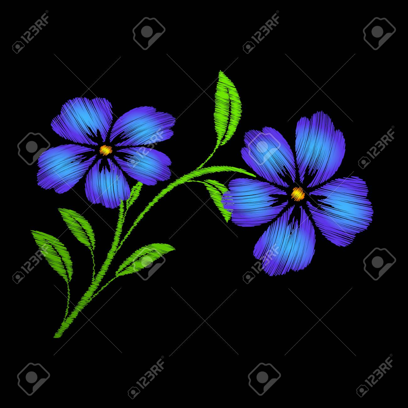 embroidered blue flowers on black background vector embroidered