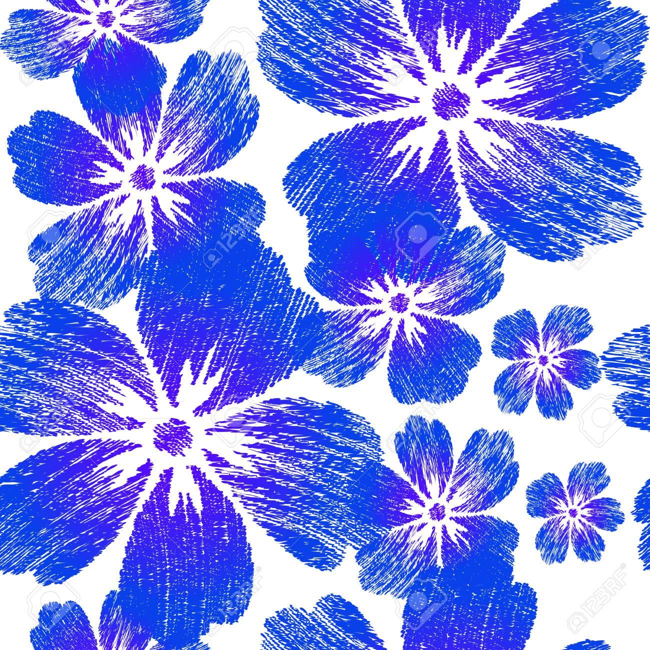 Flores Azules Bordadas En El Patron Sin Fisuras De Fondo Blanco