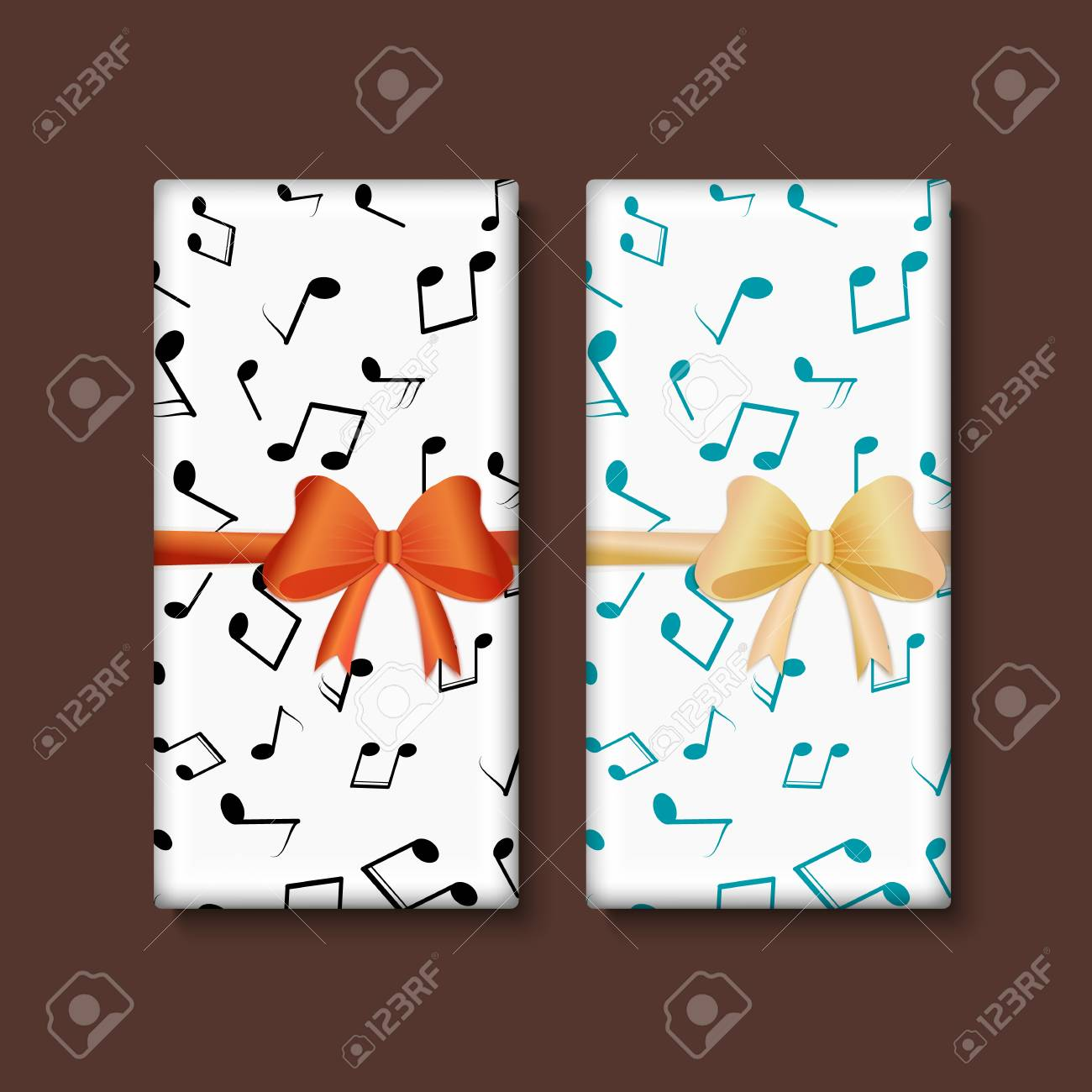 Vector Set Of Chocolate Bar Package Designs With Musical Notes