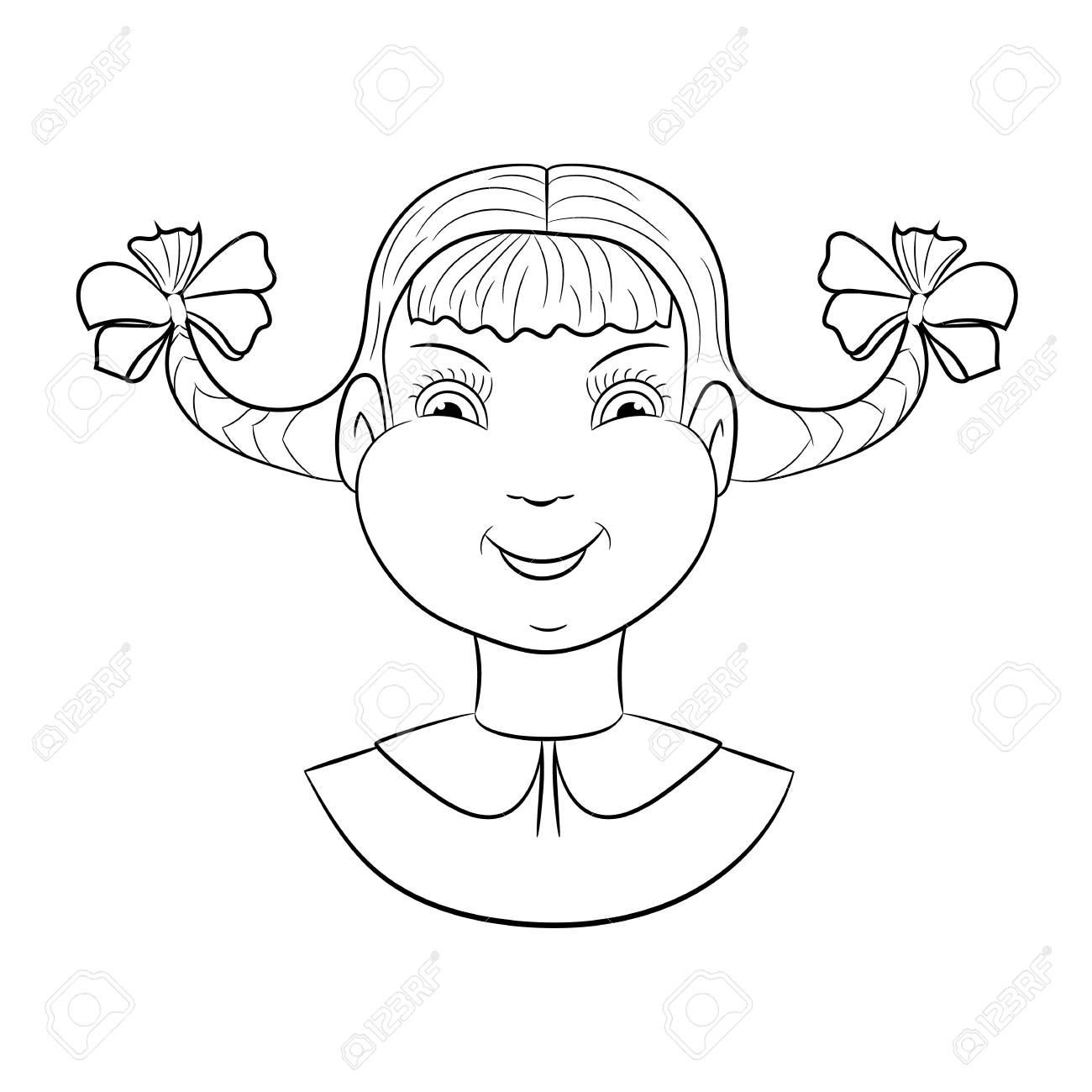 Contour Cartoon Girl Face For Coloring Book Vector Kid Avatar Stock