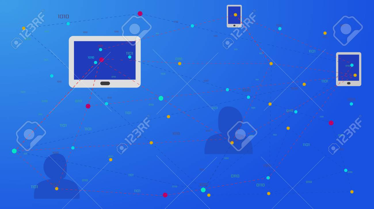 Social network, people connecting all over the world. Internet, communication and social media concepts on a network with laptop connecting, iphone and cellphone. Vector illustration. - 106926515