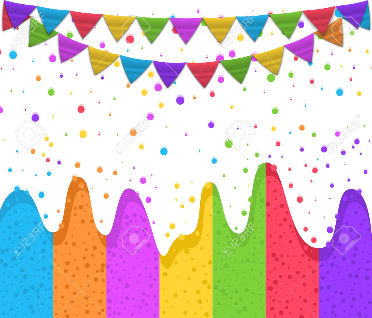 Happy Birthday Typographic Design For Greeting Cards And Posters With Confetti Garland Colorful Ice