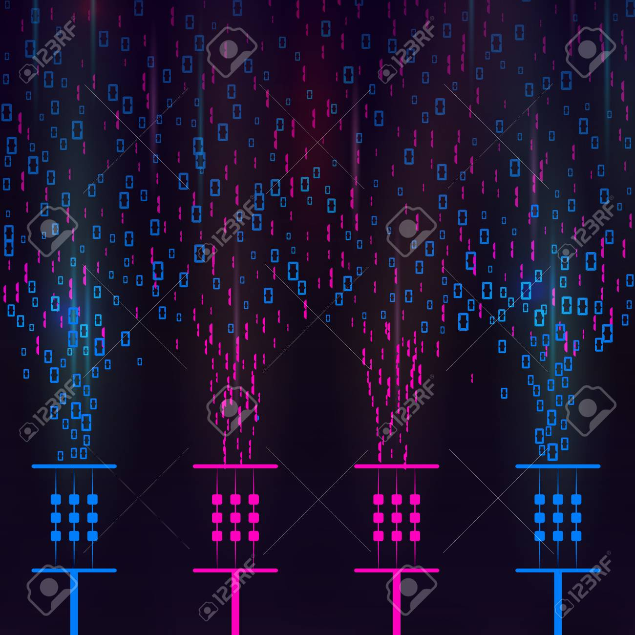 Electronic stream of binary code on screen  Data and technology,