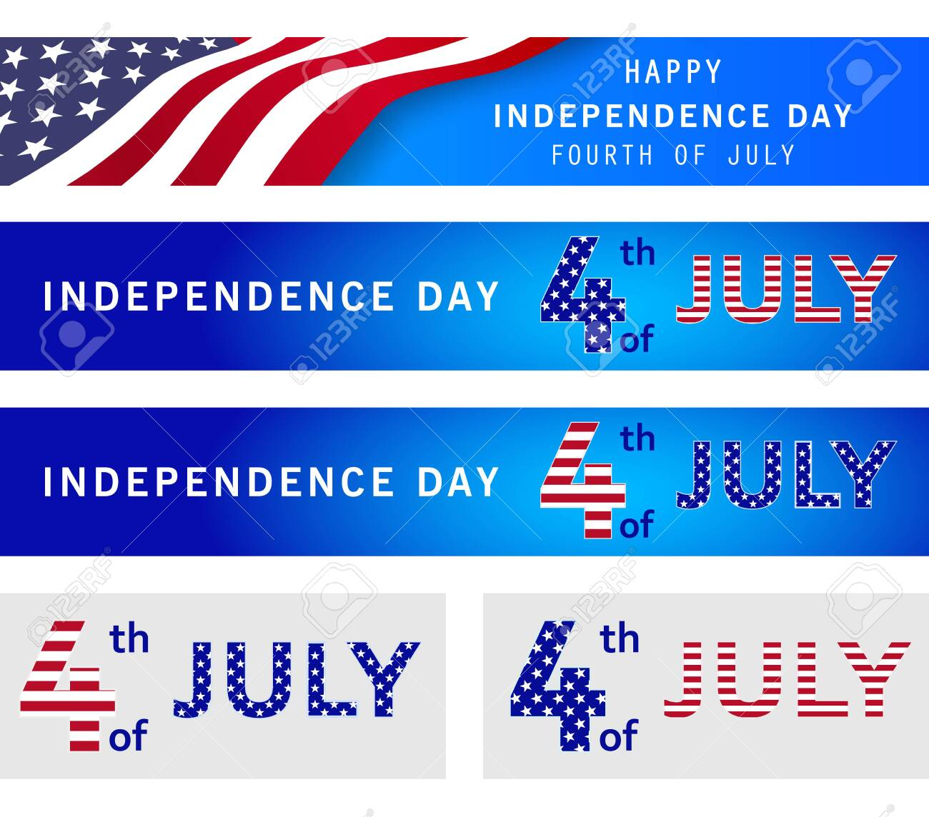 Fourth of July set of national patriotic holiday banners. American Independence Day poster, flyer, header, navy blue background with USA flag. Memorial day. Presidents election. Vector illustration - 131871628