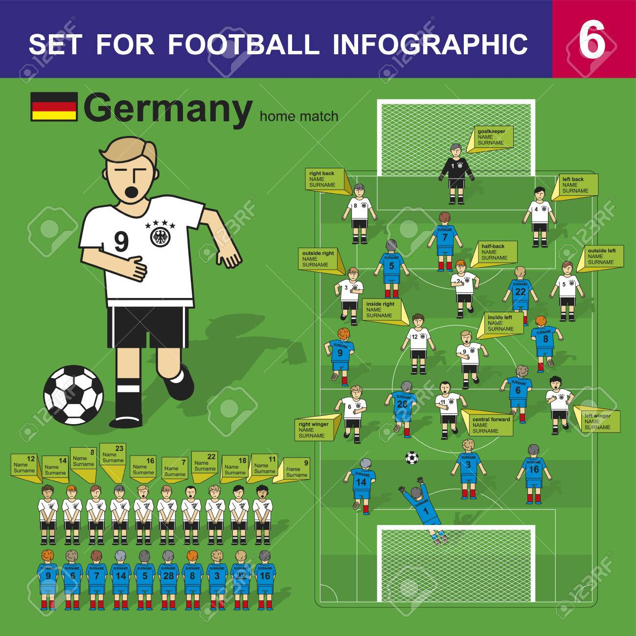 54264217b Set for football infographic. German national football team. Form for home  matches. Stock