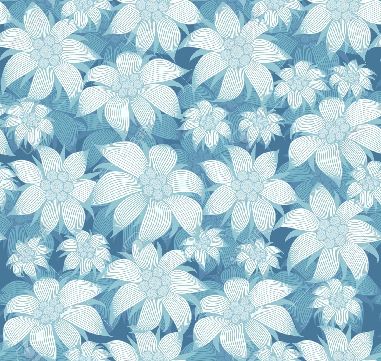 Patron Floral Sin Fisuras Sobre Un Fondo Azul Hay Flores Azules De