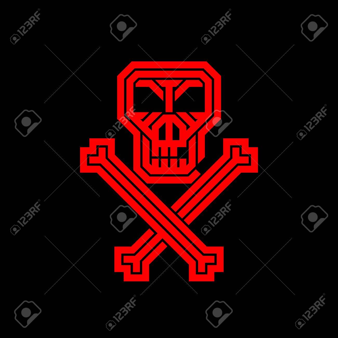 Immagini Di Teschio Pirati teschio e ossa di pirati. logo creativo astratto per l'identità aziendale  dell'azienda. un poster, un volantino per la festa di halloween, una festa