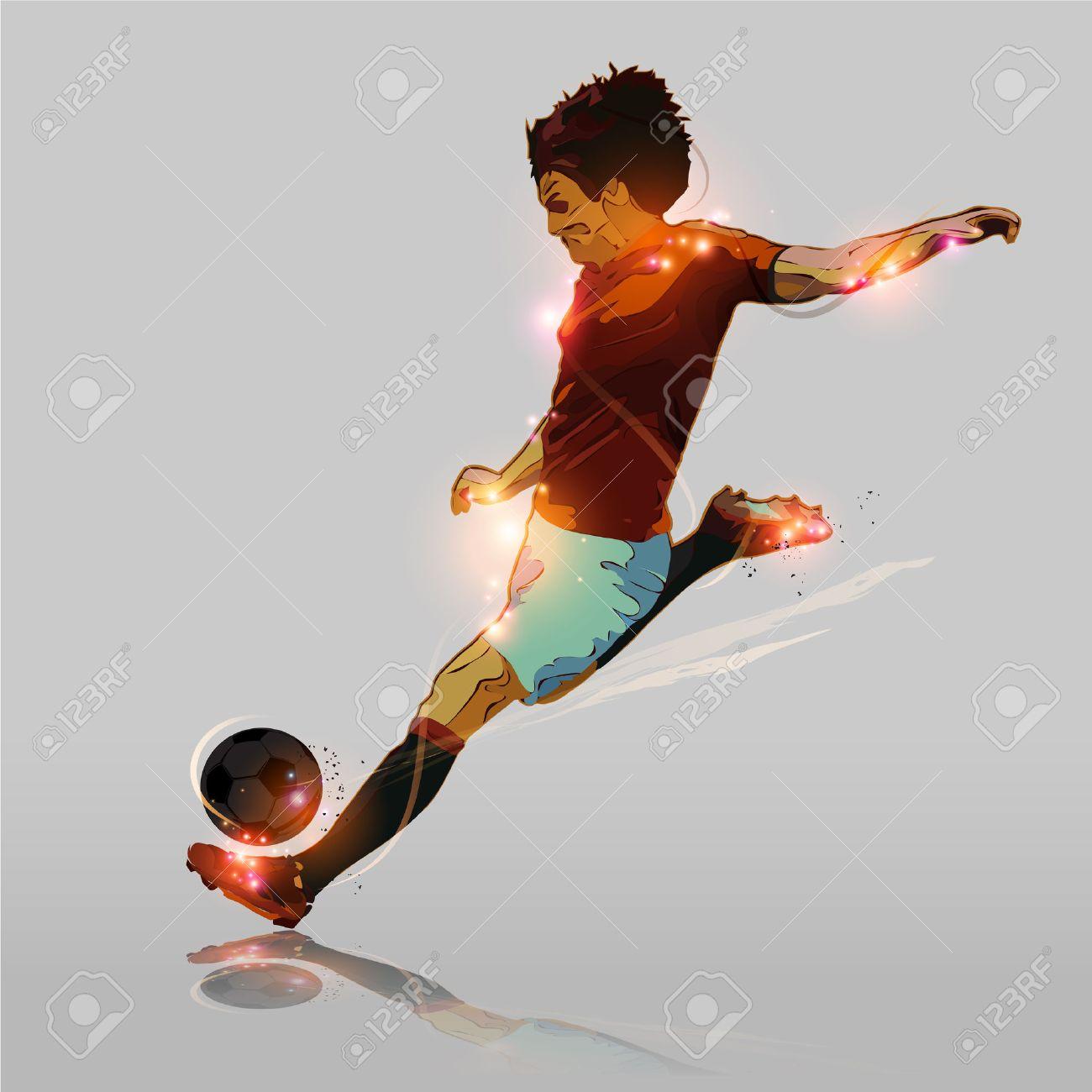 Abstrakten Farb Fußball-Spieler Schießen Fußball Lizenzfrei Nutzbare ...