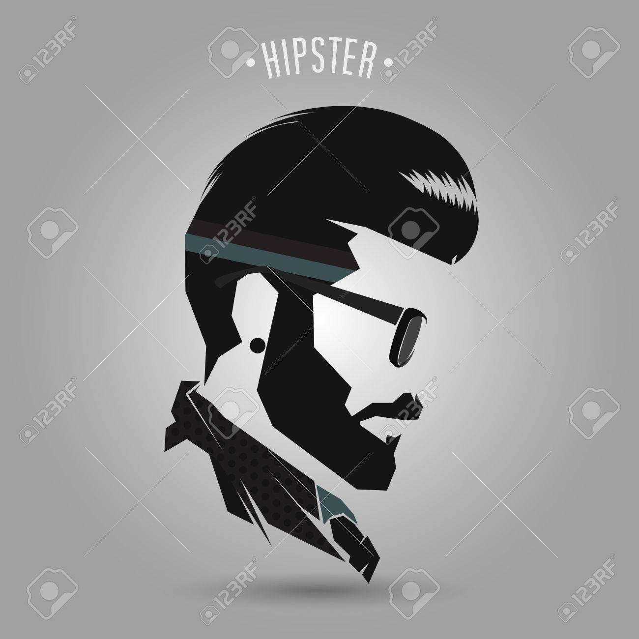 Hipster Men Vintage Hair Style On Gray Background Royalty Free