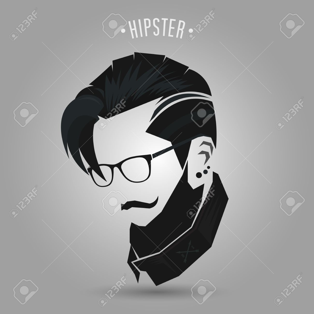 Hipster Men Vintage Hairstyle On Gray Background Royalty Free