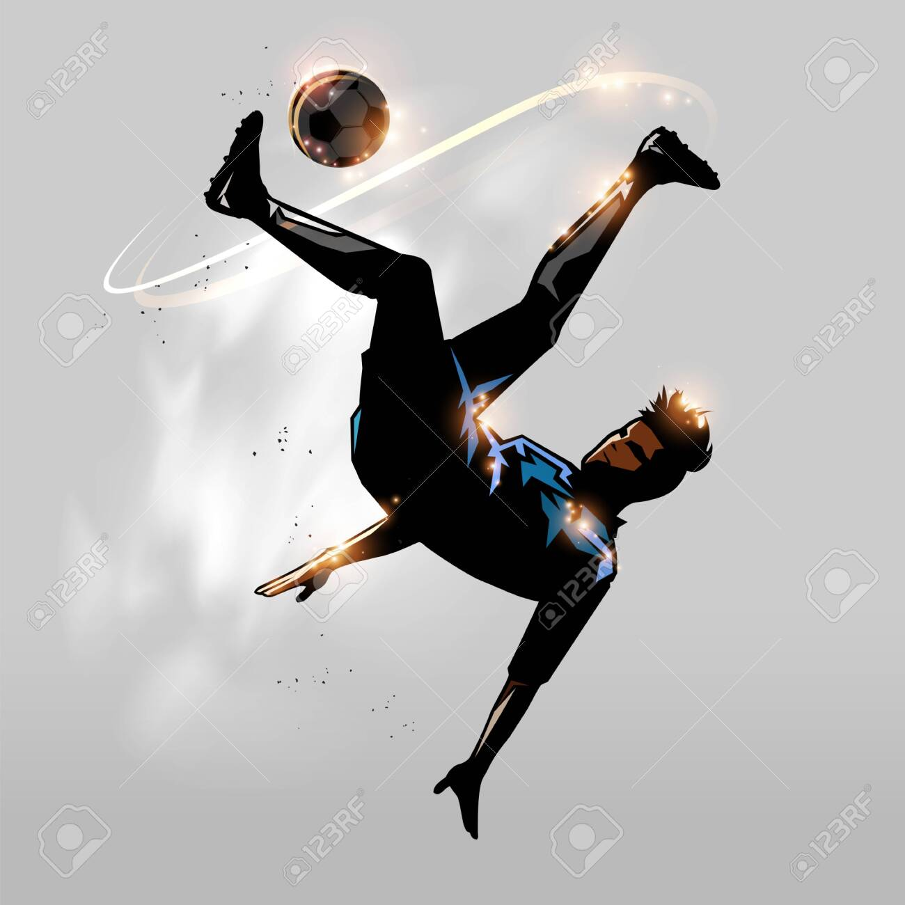 soccer player over head kick in the air design - 131871342